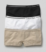 Calvin Klein Underwear seamless hipster. A comfortable seamless hipster logo and stripe detail on waistband. Cotton gusset.