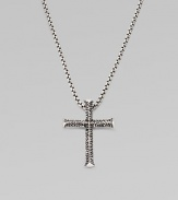A handsome, utterly modern cross in pure sterling silver. Sterling silver Pendant, about 1½ long Necklace, about 20 long Imported