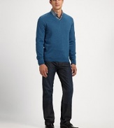 Slim-fitting knit pullover in soft, fine wool for a touchable, wearable feel.V-neckRibbed cuffs and hemWoolMachine washImported