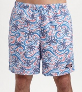 A colorful addition to a day on the beach or boat, designed with waves and palm trees in easy-fitting nylon. Elastic waist with internal drawstring Side slash, back patch pockets Meshing lining Inseam, about 7 Polyester Machine wash Imported