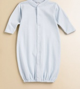 Pamper your little one with this soft, comfy and clever baby sack that converts to a coverall for easy dressing.Front button closure Snap bottom Legs have elastic cuffs Pima cotton Machine wash Imported Please note: Number of snaps may vary depending on size ordered.