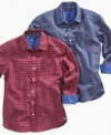 Add prep to his step with this classic plaid long sleeve shirt by Nautica. Goes well with chinos, jeans, and shorts.