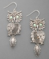 Style that's uniquely yours. These adorable Lucky Brand owl earrings are crafted in delicate silvertone mesh with haunting green eyes. Wire backing. Approximate drop: 2-3/4 inches.